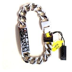 """Stainless Steel  9.5"""" Cuban Skull Bracelet"""